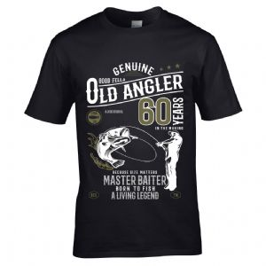 Premium Funny 60 Year Old Angler Fishing Motif For 60th Birthday Anniversary gift Men's T-shirt Top
